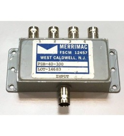1-200MHZ 75Ohm 4 WAY BNC POWER DIVIDER COMBINER MERRIMAC PDB-40-100