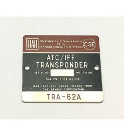 ATC / IFF TRANSPONDER TRA-62A DECAL METALLIC